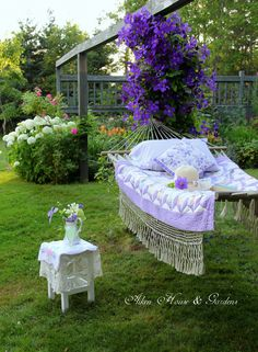 A hammock in the garden. Outdoor Rooms, Outdoor Gardens, Outdoor Living, Outdoor Furniture Sets, Outdoor Decor, Low Maintenance Landscaping, Low Maintenance Garden, Dream Garden, Home And Garden