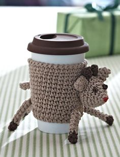 Top 10 Free Christmas Crochet Patterns on AllFreeCrochet: Reindeer Cup Cozy