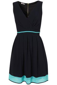 """V NECK DRESS BY WAL G"" ---   V neck tie back chiffon dress with mint colour banding -- 95% Viscose,5% Elastane."