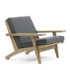 CASANOVA Møbler — Hans J. Wegner - GE 370 Lav Lænestol m. armlæn - eg lak/stof