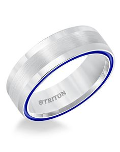 7mm Dome White TungstenAIR Comfort Fit Band with Electric Blue Side Color Treatment. Price listed is an estimate only.