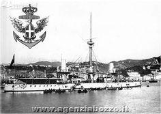 Navi da guerra   RN Caio Duilio 1876   corazzata nel porto di Genova 1900   Regia Marina Italiana