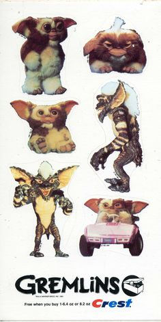 This Gremlins sticker set was made for a Crest promotion and measures 6 inches by 3.5 inches. The stickers sheets remain in like new condition!