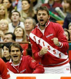 Roger Federer e Stanislas Wawrinka (Davis Cup 2014)