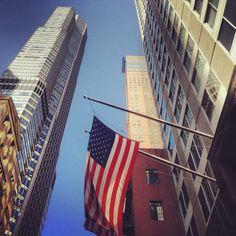 Buildings flag USA NYC