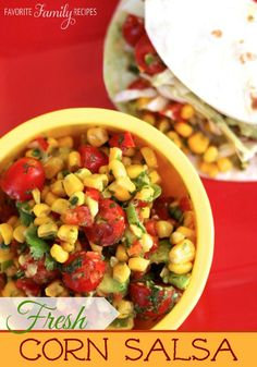 I love this corn salsa with fish tacos, but it also tastes great with tortilla chips! It tastes the best with fresh corn!