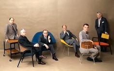 Mid-century designers (L-R) George Nelson, Edward Wormley, Eero Saarinen, Harry Bertoia, Charles Eames, and Jens Risom, each with furniture of their own design, photograph by Marvin Koner and Daniel Rubin for ...Playboy (believe it or not!) (1961)