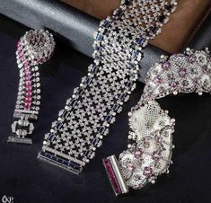 Moksh 'Empress' bracelets with keshi pearls, diamonds, sapphires and rubies in white and black gold Lotus Jewelry, Gems Jewelry, Bridal Jewelry, Jewelery, Fine Jewelry, Silver Jewelry, Diamond Bracelets, Diamond Jewelry, Bangle Bracelets