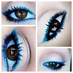 Blue eyeliner.     Glitter eyeliner.   | Aqua Invasion Eye Makeup.    The Beauty Chronicles #nyx #urbandecay