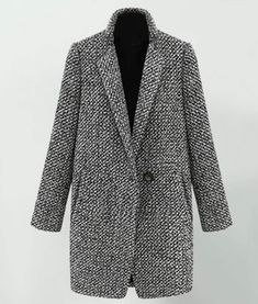 Womens Grey Tweed Slim Coat With Single Buttoned