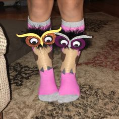 Crazy Sock Day! Owl Socks! Crazy Hat Day, Crazy Hats, Crazy Socks, Silly Socks, Funny Socks, Cute Socks, Good Luck Socks, Owl Socks, Wacky Hair Days