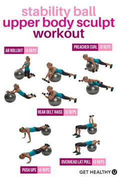 your entire upper body and abs with this quick stability ball workout using the lb hand weights. Check out free exercise library for tons more stability ball exercises!Tone your entire upper body and abs with this quick stability ball workout using th Workout Hiit, Fitness Workouts, Workout Videos, At Home Workouts, Fitness Tips, Fitness Ball Exercises, Fitness Journal, Yoga Ball Workouts, Dumbbell Workout