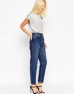 Image 1 ofASOS Pin-up Jeans in Vintage Wash with Bleached Crease