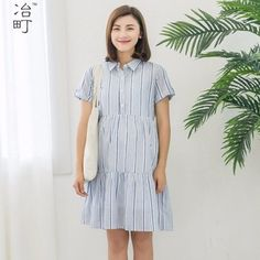 Alibaba supplier high quality modern empire waist striped pleated maternity dress