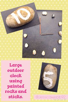 Large, outdoor clock using sticks and stones with pan minted numbers. EYFS