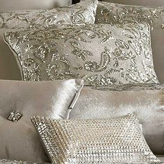 The really sparkly one, Kylie, is Kylie Minogue Alexa Cushion Silver Bedroom, Glam Bedroom, Bedroom Decor, Bedroom Ideas, Bed Pillows, Cushions, Home And Deco, Luxurious Bedrooms, Beautiful Bedrooms