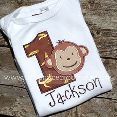 Goin' Bananas Mod Monkey Birthday Boy Shirt by bananabearboutique, $23.00
