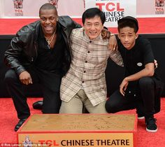 Hollywood ceremony: Jackie Chan had his hands and feet immortalized on Wednesday with prints at the TCL Chinese Theatre in Los Angeles with his The Karate Kid co-star Jaden Smith and Rush Hour buddy Chris Tucker at his side Chris Tucker, Jackie Chan Karate, Karate Kid Jaden Smith, Jaden Smith Fashion, Rush Hour, His Hands, Becca, Martial Arts, Wednesday