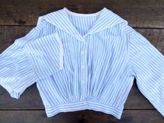 VTG 1900s Turn Century Striped Long Sleeve Sailor Blouse Top Victorian Boho Sm #Handmade #Blouse #Casual