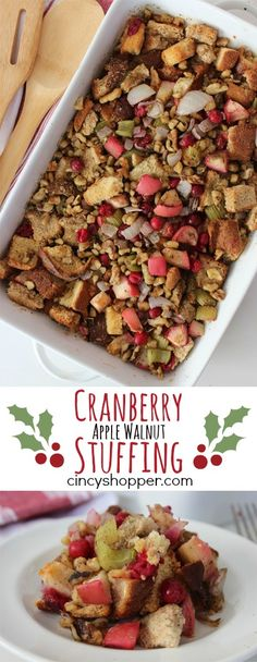Cranberry Apple Walnut Stuffing Recipe- This dressing is loaded up with the yummy flavors of cranberries, apples and walnuts. Perfect Thanksgiving and Christmas Side Dish.