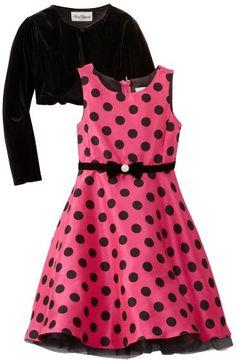 Rare Editions Girls 7-16 Cardigan Dress, Pink/Black, 16