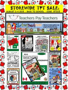 TPT's Great summer sale can save you between 20% & 30% off many items.  Check out my store: The Artsy French Teacher at https://www.teacherspayteachers.com/Store/The-Artsy-French-Teacher - August 3 and 4th, 2015!  Happy Holidays!
