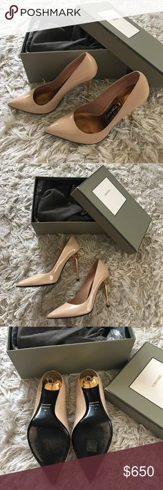 Tom Ford patent nude pumps Tom Ford patent nude pumps with signature gold heel. Like new. Comes with box, dust bags, and extra heel taps. Tom Ford Shoes Heels