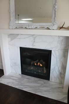 Fireplace wood burning insert that is flush against the wall