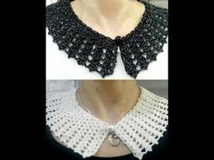 Crochet collar / peter pan collar / lace look collar - YouTube