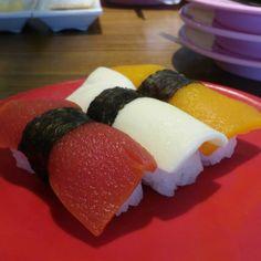 """Soy trio vegetarian sushi. Tomato, plain soy and pumpkin. Weird but tasty #foodporn #sushi #food"""