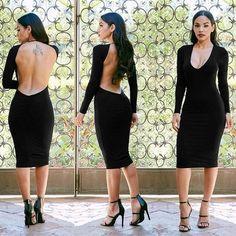 Deep V-neck Backless Party Long Sleeve Knee-length Dress - CELEBRITYSTYLEFASHION.COM.AU - 1