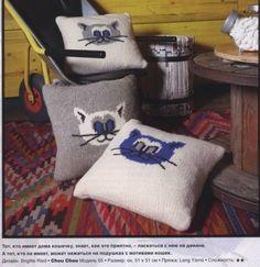 Mis Pasatiempos  Amo el Crochet: Fundas de cojines en dos agujas con diseño de gati...