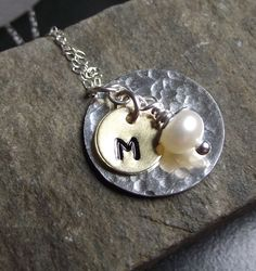 Hand Stamped Initial Jewelry - Mixed Metal Necklace - RESERVED FOR MEG.  via Etsy.