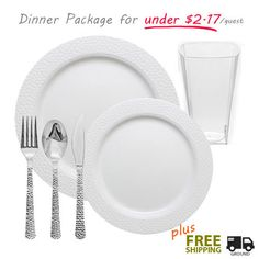 Wedding package with white designer plastic plates plastic glasses and silver like cutlery. On  sc 1 st  Pinterest & 60 x 102 in. Rectangular Polyester Tablecloth for Wedding or ...