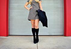 Plaid mini dress & knee high socks! http://www.fashboulevard.com/2013/11/plaid-about-you.html