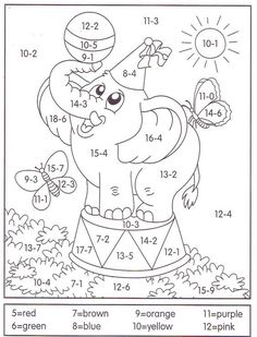 Tens And Ones Worksheets, Math Coloring Worksheets, Kindergarten Math Worksheets, Preschool Learning Activities, Kids Learning, Color By Numbers, Simple Math, Teaching Aids, Math For Kids