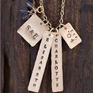 Three Sisters Jewelry's Imperial Palace necklace is one of my favorite pieces; my tags are personalized with my children's names as well as my anniversary year. They have a wonderful array of necklaces and jewelry to choose from and are beautiful and reasonably priced.
