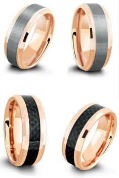 The perfect mens gift or wedding ring. Rose gold tungsten wedding rings. I love the looks of these mens rings!!! So unique.