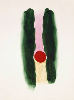 Abstraction Dark Green Lines with Red and Pink  O'Keeffe, Georgia  Creation Date	1970s  watercolor on paper