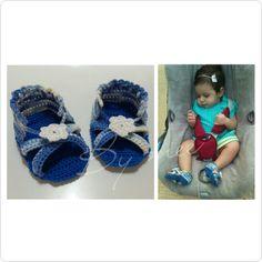 Sweet baby and her #Bymee sandals...can you spot the headpiece also  #bymeecreations #crochet #handmade #sandals #headpiece #babyshoes #crochetshoes #jeanssandals #babies #cutelittlethings #babyaccessories #babywear #babygirl #handmadeisthebest #handmadeinlebanon #beirut #lebanon