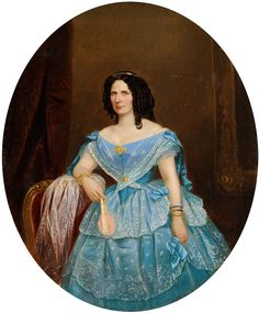 Nebel, Friedrich 1818 München - 1892 Darmstadt Portrait einer vornehmen Dame..jpg
