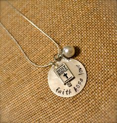 Silver Bible Charm with Pearl Dangle and Hand Stamped Quote of Your Choice - Customized Necklace