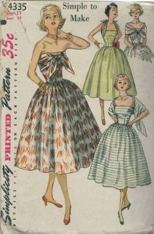 "An original ca. 1950's Simplicity Pattern 4335.  This ""Simple to Make"" dress is styled with a strapless bodice and a gathered skirt and features a scarf sewn to the bodice back which may be worn in several different ways.  There are pockets in the side front seams of the skirt and dress fastens with a zipper at left side."