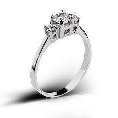 Sterlin silver 3 stone ring with Swarovski zirkonia.