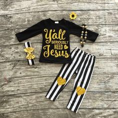 """Girls """"Y'all need Jesus """" Black and Gold Outfit with Matching Necklace and Bow"""