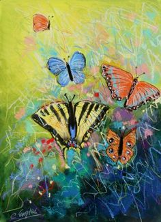 Butterflies One, abstract painting by Carol Engles -- Carol Engles