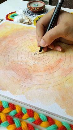 Mandala Art Therapy, Mandala Art Lesson, Mandala Artwork, Mandala Drawing, Mandala Painting, Watercolor Mandala, Doodle Art Designs, Art Drawings Beautiful, Madhubani Art
