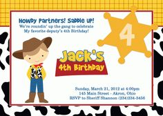 Toy Story Birthday Invitation - Sheriff Woody Cowboy