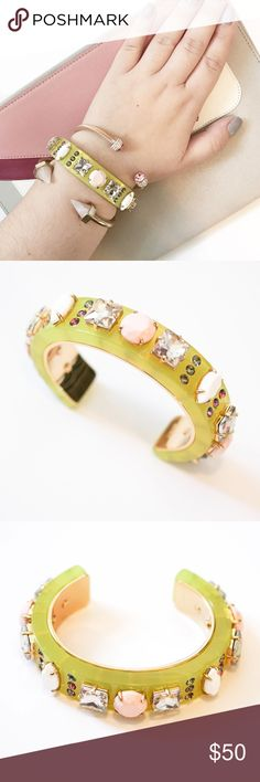 """J. Crew Neon and Crystal Cuff Bracelet ✨ J. Crew Neon & Crystal Cuff Bracelet ✨  - New, without tags - Neon & pave crystal - Acetat, brass, glass and epoxy stone - Shiny 14k gold plating - Inner diameter: 2 1/4""""L x 1 7/8""""W - Width: 5/8""""  Feel free to ask any questions! Please make all offers through the offer button! Xo J. Crew Jewelry Bracelets"""