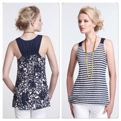 """Anthropologie Undergrowth Tank The back of one.september's stripey tank has been overtaken by spindly blooms.   Cotton, polyester, nylon  Hand wash. A size medium that fits like a small IMO. 25"""" long front and a bit longer in back. 17"""" armpit width. Very good condition. Anthropologie Tops"""